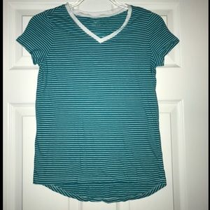 Kids teal and white striped t-shirt